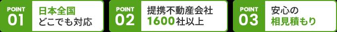 POINT 1 日本全国どこでも対応/POINT 2 提携不動産会社1600社以上/POINT 3 安心の 相見積もり