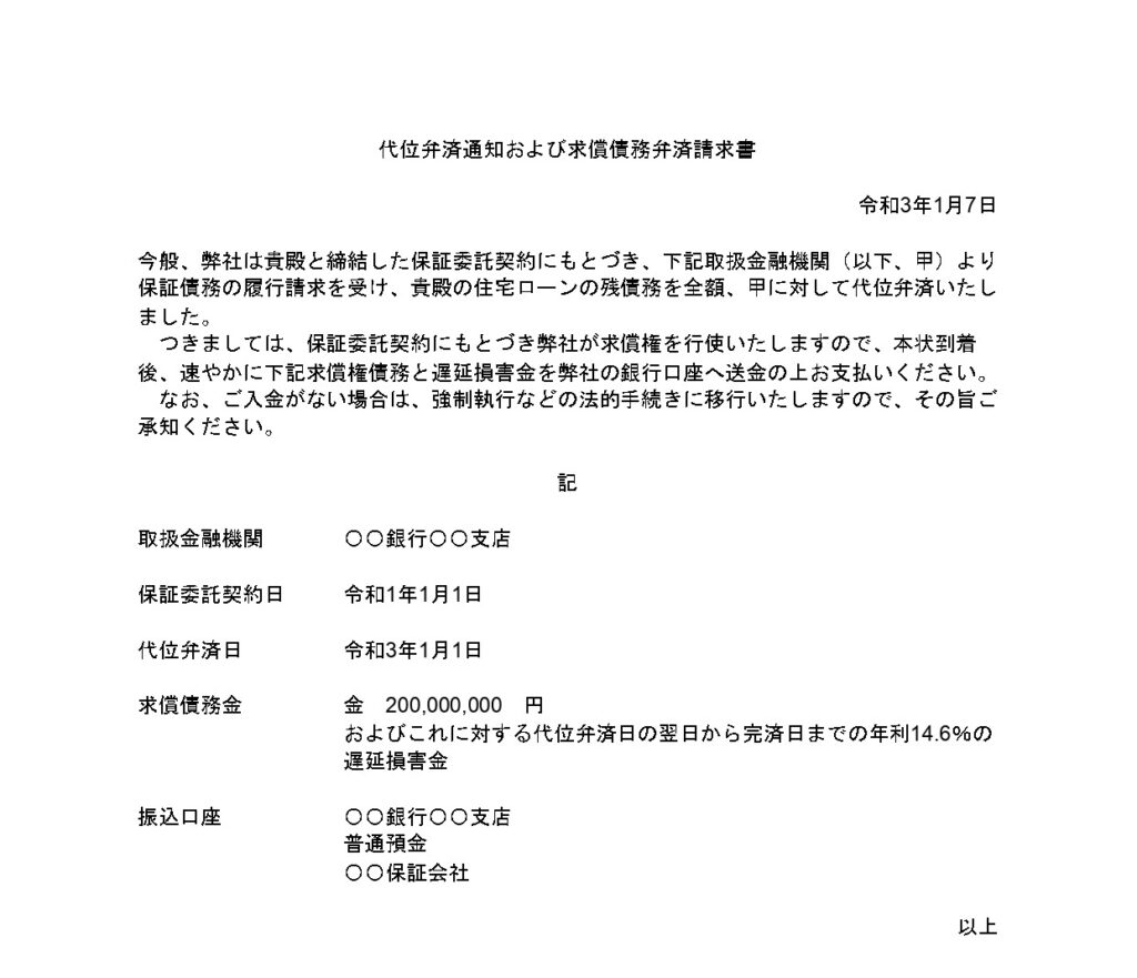 代位弁済通知書の例